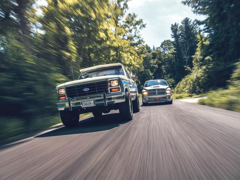 1983 Ford Bronco and 2004 Dodge Ram SRT10. Photo by DW Burnett