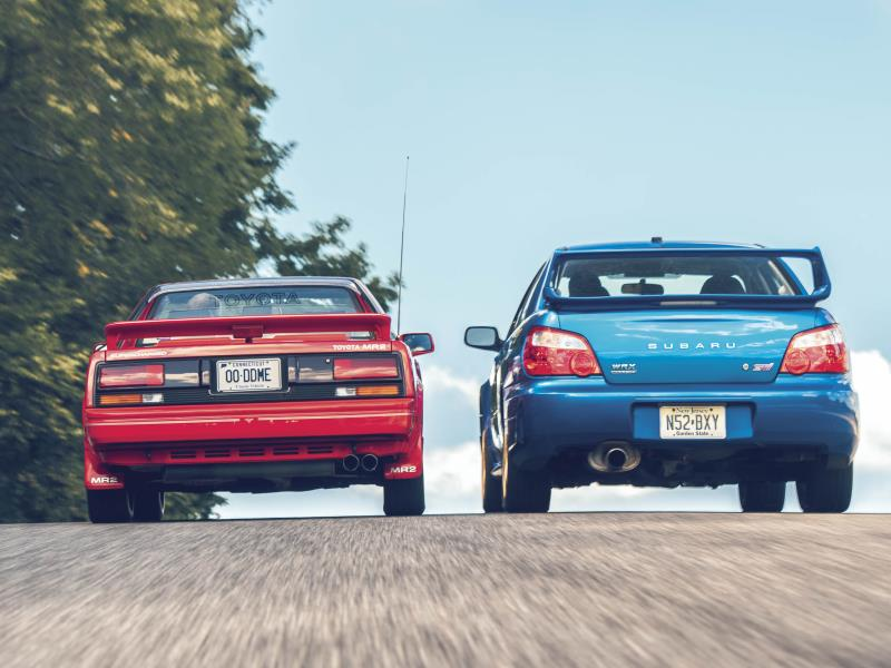 1988 Toyota MR2 S/C and 2004 Subaru WRX STI. Photo by DW Burnett