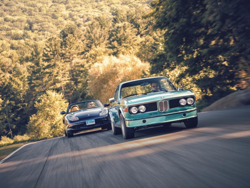 1973 BMW 3.0CSL and 2003 Porsche Boxster S. Photo by DW Burnett